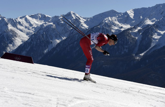 Poland's Justyna Kowalczyk competes to win gold in the Women's Cross-Country Skiing 10km Classic at the Laura Cross-Country and Biathlon Center during the Sochi Winter Olympics February 13, 2014 in Rosa Khutor near Sochi. (AFP Photo / Odd Andersen)