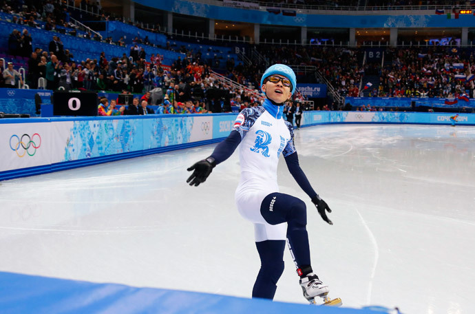 Victor An of Russia reacts after he won the men's 1,000 metres short track speed skating final event at the Iceberg Skating Palace during the 2014 Sochi Winter Olympics February 15, 2014.(Reuters / David Gray)