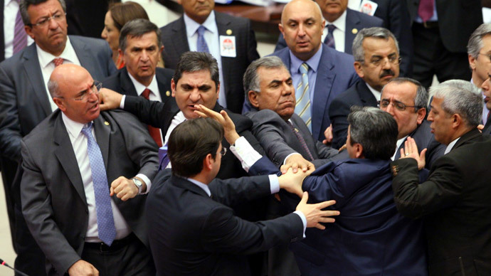 Turkish MPs brawl as Erdogan tightens grip on judiciary