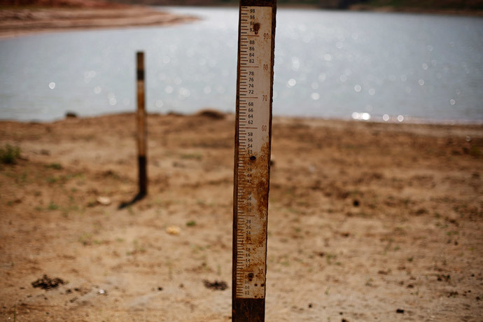 Water markers indicating where water level used to be are seen at Jaguary dam, as the dam dries up over a long drought period in the state of Sao Paulo, in Braganca Paulista, 100km (62 miles) from Sao Paulo (Reuters / Nacho Doce)
