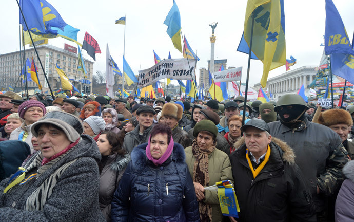 Protesters attend a mass opposition rally on Independence Square in Kiev on February 16, 2014 (AFP Photo / Sergey Supinsky)
