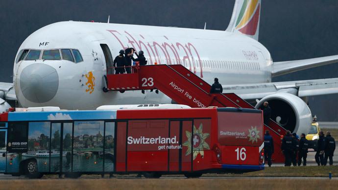 Co-pilot hijacks Ethiopian plane, lands in Geneva to ask for asylum