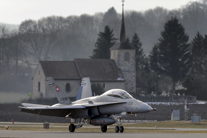 A F/A-18 Hornet fighter aircraft of the Swiss Air Force.(AFP Photo / Fabrice Coffrini)