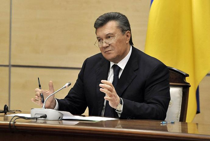 Viktor Janukovitshin hänen lehdistötilaisuudessa Etelä-Venäjän kaupungissa Rostov-on-Don, 28. helmikuuta 2014.  (AFP Photo / Andrey Kronberg)