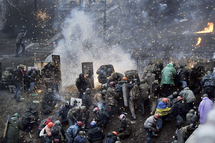 Independence Square Kiovassa 20. helmikuuta 2014.  (AFP Photo / Louisa Gouliamaki)