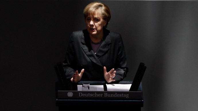 German Chancellor Angela Merkel addresses the Bundestag, the lower house of parliament, at the Reichstag in Berlin March 13, 2013. (Reuters / Tobias Schwarz)