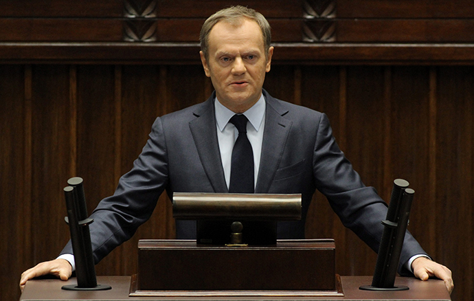 Poland's Prime Minister Donald Tusk delivers a speech about the situation in Ukraine at the Parliament in Warsaw February 19, 2014. (Reuters / Agencja Gazeta)