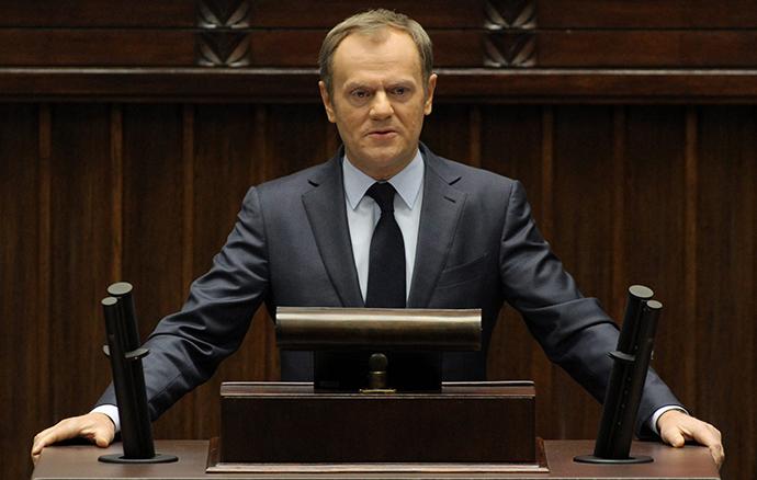 Puolan pääministeri Donald Tusk toimittaa puhe Ukrainan tilanne parlamentissa Varsovassa 19 helmikuu 2014.  (Reuters / Agencja Gazeta)