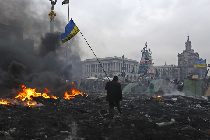 Independence Square in Kiev February 20, 2014. (Reuters/Yannis Behrakis)