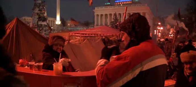 RT video still: Free tea place on Independence Square (Maidan).