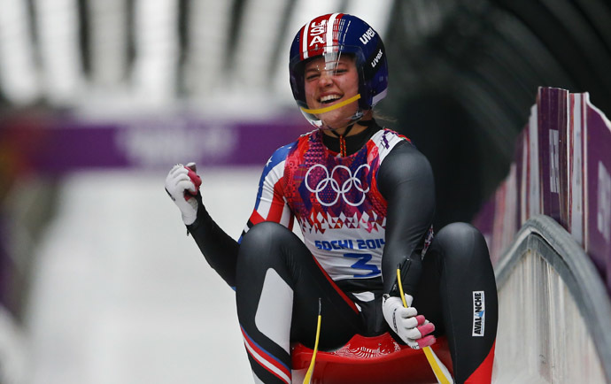Kate Hansen of the U.S. reacts after completing the final run in the women's singles luge event at the 2014 Sochi Winter Olympics, at the Sanki Sliding Center in Rosa Khutor February 11, 2014. (Reuters/Arnd Wiegmann)
