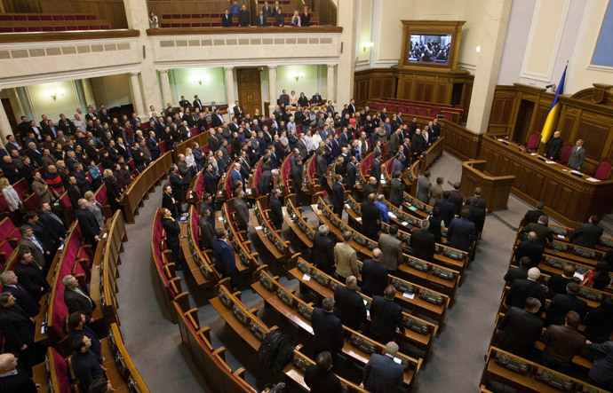 A general view of Ukraine's parliament during the vote to remove President Viktor Yanukovich from office hours after he abandoned his Kiev office to protesters and denounced what he described as a coup, in a session in Kiev February 22, 2014. (Reuters / Stringer)