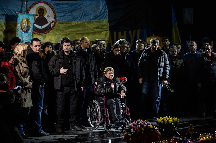 Newly freed Ukrainian opposition leader Yulia Tymoshenko speaks at Independence Square on February 22, 2014 (AFP Photo / Bulent Kilic)