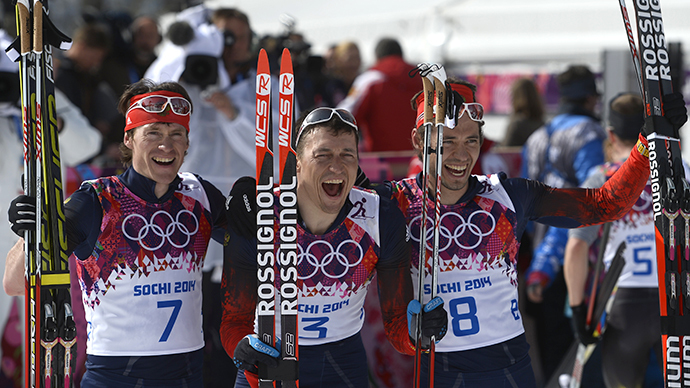 Russia top of Sochi 2014 medal count as skiers sweep podium in 50km marathon