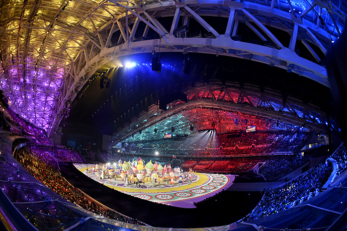 Actors and dancers perform during the Opening Ceremony of the Sochi Winter Olympics at the Fisht Olympic Stadium on February 7, 2014 in Sochi. (AFP Photo / Jonathan Nackstrand)