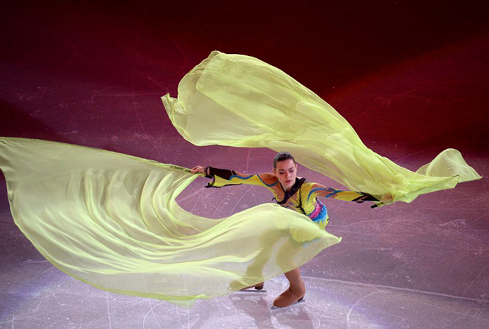 Russia's Adelina Sotnikova performs at the Figure Skating Exhibition Gala at the Iceberg Skating Palace during the Sochi Winter Olympics on February 22, 2014. (AFP Photo / Yuri Kadobnov)