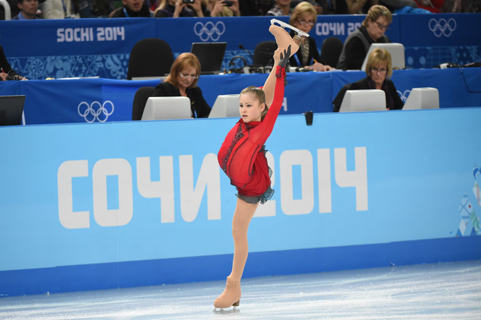 Russia's Julia Lipnitskaia performs in the Women's Figure Skating Free Program at the Iceberg Skating Palace during the Sochi Winter Olympics on February 20, 2014. (AFP Photo / Damien Meyer)