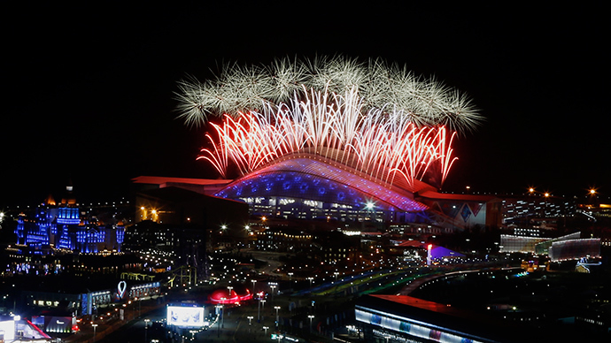 Fireworks explode over the Fisht Olympic Stadium during the closing ceremony for the 2014 Sochi Winter Olympics, February 23, 2014 (Reuters / Alexander Demianchuk)