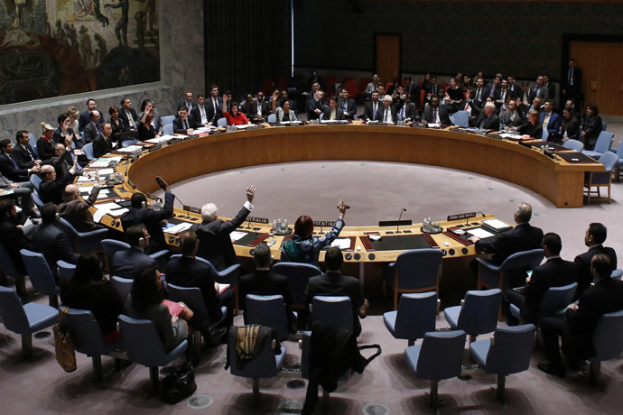 The United Nations Security Council votes on resolution on humanitarian aid for Syria at U.N. headquarters in New York, February 22, 2014. (Reuters/Mohammed Abdullah)