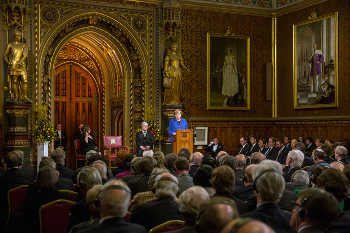German Chancellor Angela Merkel address members of both Houses of Parliament in the Royal Gallery of the Palace of Westminster in London February 27, 2014. (Reuters / Oli Scarff / pool)