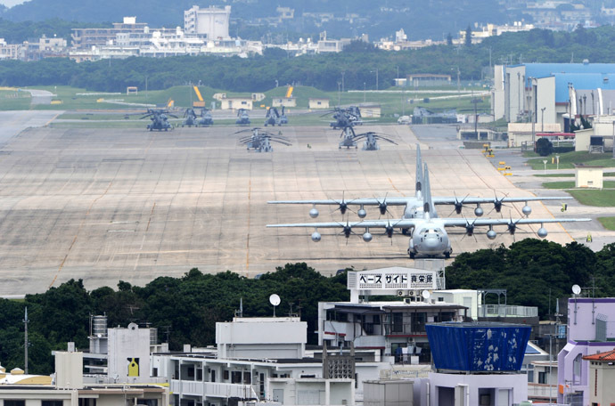 A file picture taken on April 24, 2010 shows planes and helicopters stationed at the US Marine Corps Air Station Futenma base in Ginowan, Okinawa prefecture. (AFP Photo)