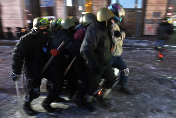 "Far-right group ""Right Sector"" train in Independence Square in Kiev January 31, 2014. (Reuters/David Mdzinarishvili)"