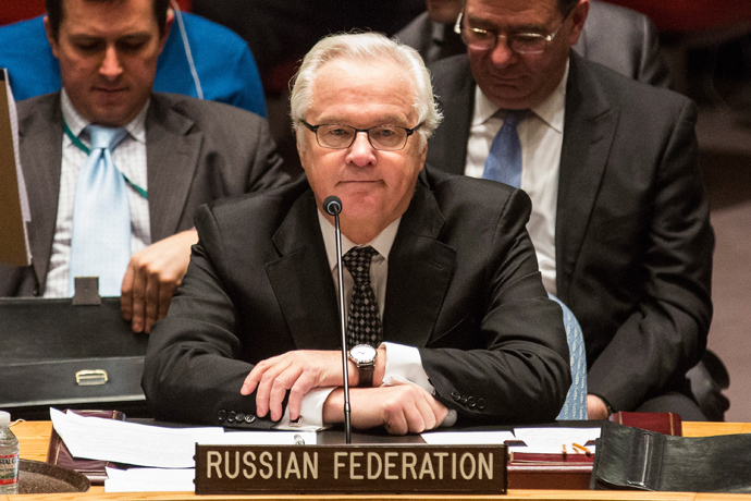 Russian Permanent Representative to the United Nations (UN), Vitaly Churkin, speaks during a UN Security Council meeting on March 1, 2014 in New York City (AFP Photo / Andrew Burton)