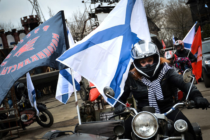 Bikers hit the Moscow roads to show their support to Russian-speakers in Ukraine. (RIA Novosti/Ramil Sitdikov)