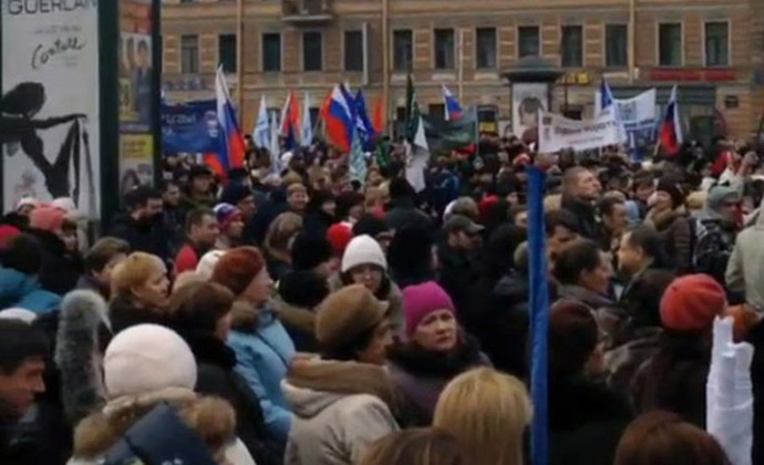 A Saint Petersburg rally in support of Russian-speakers in Ukraine. (Still from Instagram video/toxa84)