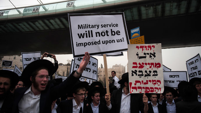 Ultra-Orthodox Jews mass-protest in Jerusalem over army-service draft law