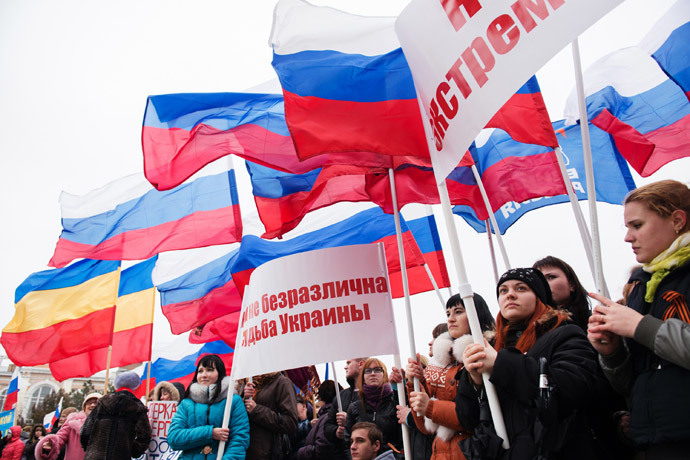 Participants in a rally in support of the Russian population in Ukraine held in Novocherkassk.(RIA Novosti / Vladislav Samoylik)