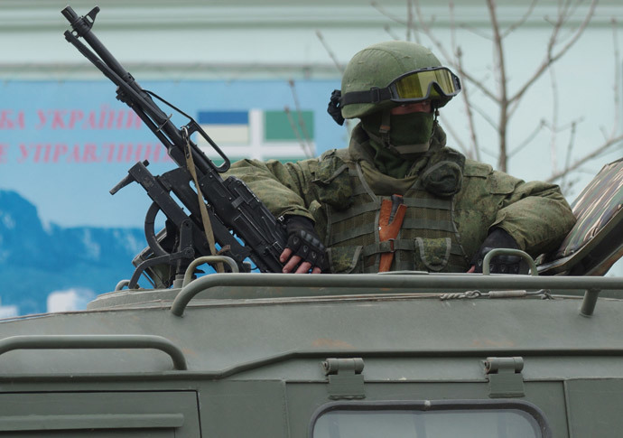 A soldier outside the Sevastopol coastguard unit of the Ukrainian Border-guard Service.(RIA Novosti / Vasiliy Batanov)