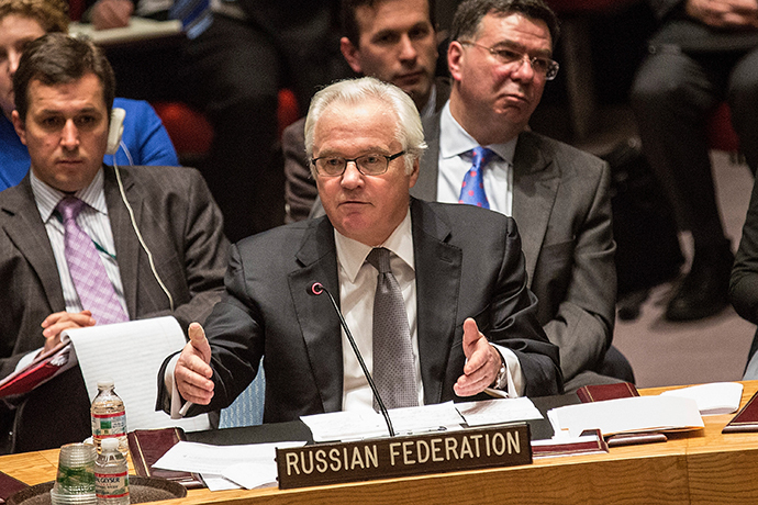 Russian Permanent Representative to the United Nations (UN), Vitaly Churkin, speaks at a UN Security Council meeting on March 3, 2014 in New York City. (AFP Photo / Andrew Burton)