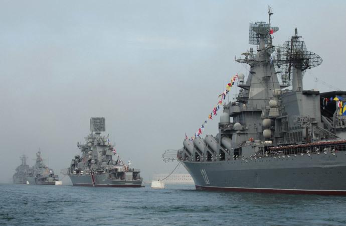 The ship parade during the celebration of the Russian Black Sea Fleet's 230th anniversary in Sevastopol.(RIA Novosti / Vasiliy Batanov)