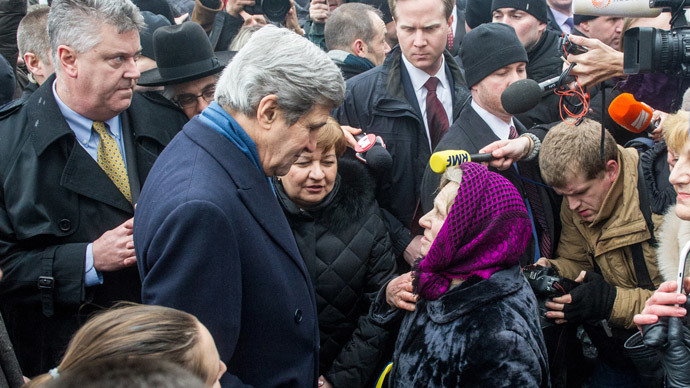 US Secretary of State John Kerry speaks to people at the Shrine of the Fallen in Kiev on March 4, 2014.(AFP Photo / Volodymyr Shuvayev)