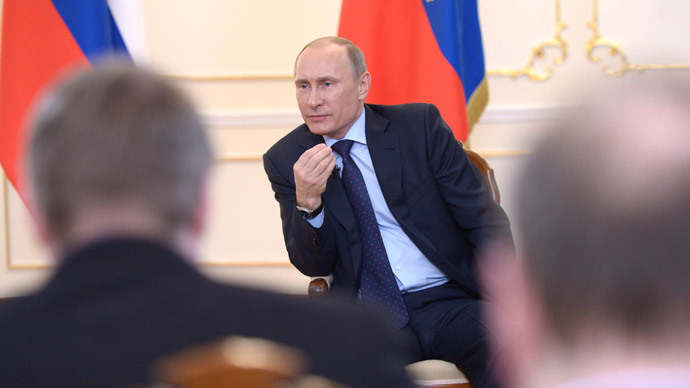 President Vladimir Putin facing journalists at the Novo-Ogaryovo residence to answer questions concerning the situation in Ukraine, March 4, 2014.(RIA Novosti / Aleksey Nikolskyi)