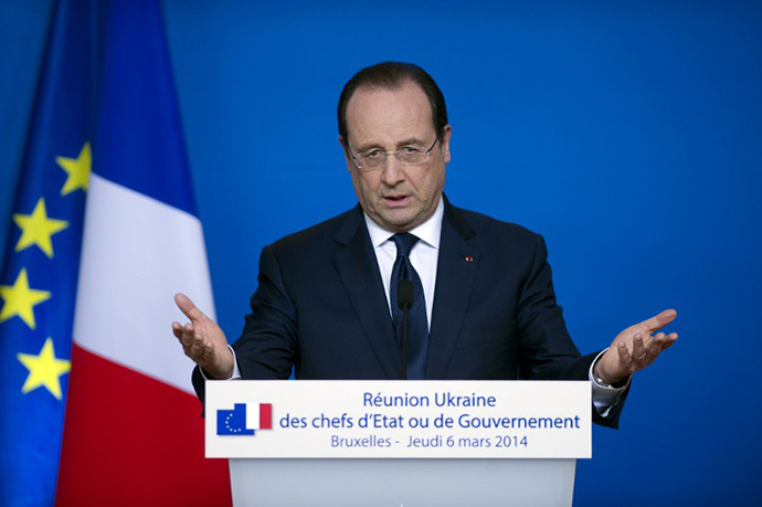 French president Francois Hollande speaks during a press conference on March 6, 2014 in Brussels. (AFP Photo / Alain Jocard)