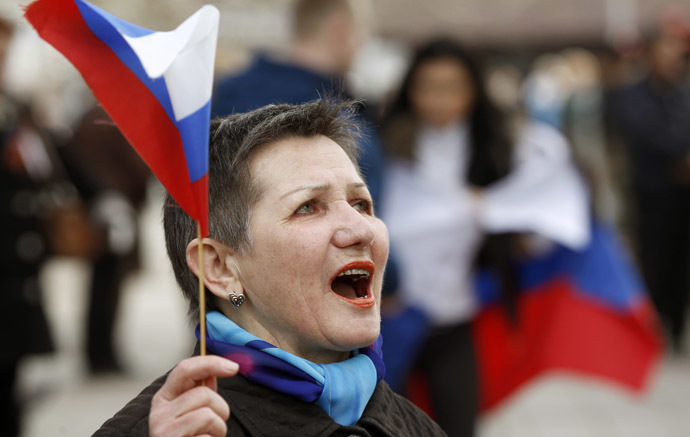A pro-Russian supporter takes part in a meeting in Simferopol, March 6, 2014. (Reuters)