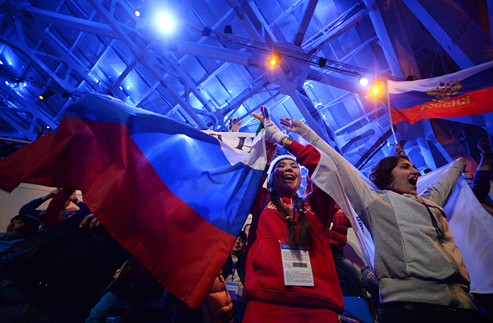 Russian sports fans before the opening ceremony of the Sochi 2014 Winter Paralympics. (RIA Novosti / Konstantin Chalabov)