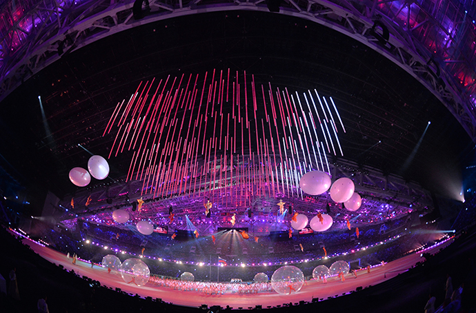 Performers during the opening ceremony of the Sochi 2014 Winter Paralympics. (RIA Novosti / Alexey Kudenko)