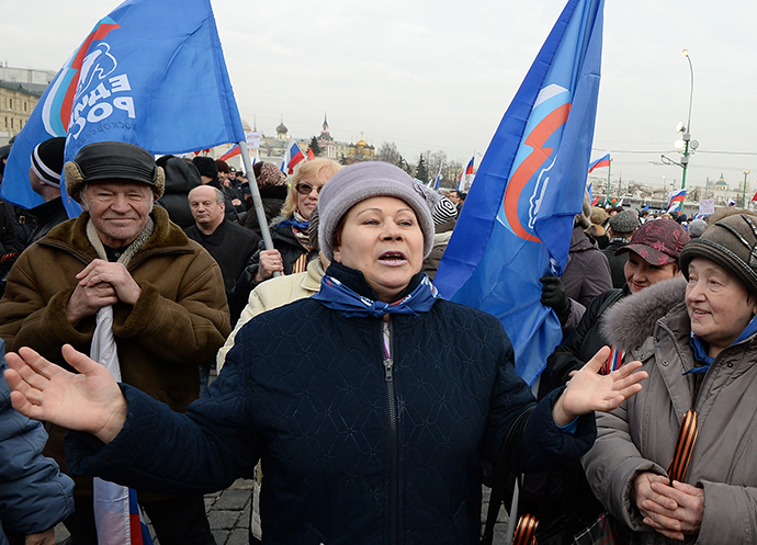 "Participants in the ""We Are Together"" rally and concert to support the residents of the Crimea, at Vasilyevsky Slope, Moscow on March 7, 2014. (RIA Novosti / Maksim Blinov)"
