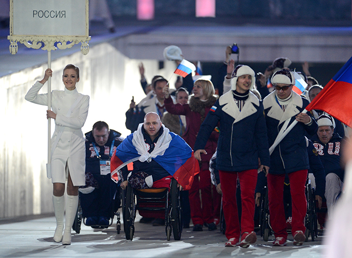 Representatives of Russia during the parade of athletes and members of national delegations at the opening ceremony of the Sochi 2014 Winter Paralympics. (RIA Novosti)