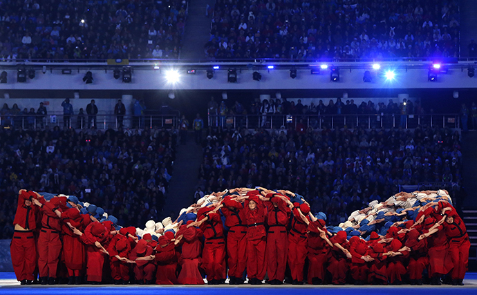 Performers take part in the opening ceremony of the 2014 Paralympic Winter Games in Sochi, March 7, 2014. (Reuters / Alexander Demianchuk)