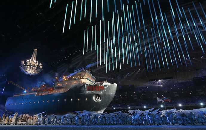 "An icebreaker ship called ""Peace"" is seen during the opening ceremony of the 2014 Paralympic Winter Games in Sochi, March 7, 2014. (Reuters / Alexander Demianchuk)"