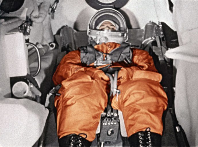 "The First cosmonaut Yury Gagarin in cockpit of spaceship ""Vostok"" before takeoff. Cosmodrome Baikonur, April 12, 1961.(RIA Novosti)"