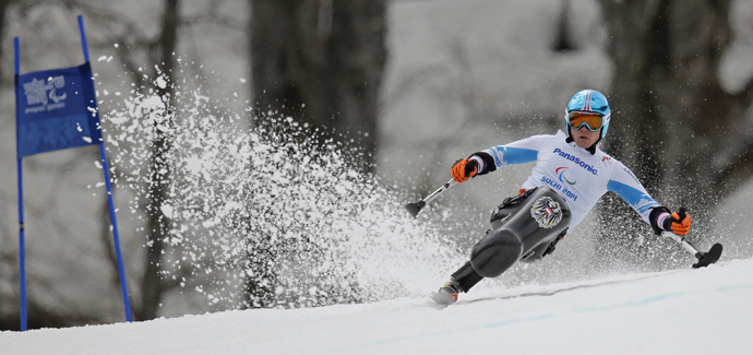 Austria's Roman Rabl skis during the men's sitting skiing Super G at the 2014 Sochi Paralympic Winter Games at the Rosa Khutor Alpine Center March 9, 2014 (Reuters / Christian Hartmann)