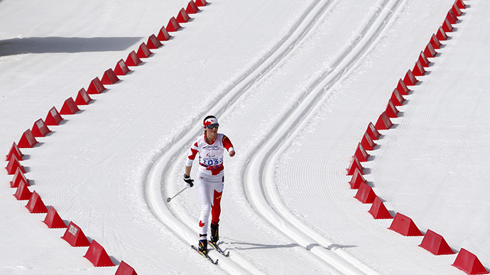 Canada's Brittany Hudak skis during the women's 15 km cross-country standing at the 2014 Sochi Paralympic Winter Games in Rosa Khutor, March 10, 2014 (Reuters / Alexander Demianchuk)