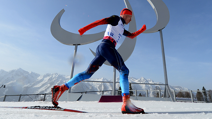 Russia's Vladimir Kononov competes during the Men's Cross Country 20 km Classic Standing at XI Paralympic Olympic games in the Rosa Khutor stadium near Sochi on March 10, 2014 (AFP Photo / Kirill Kudryavtsev)