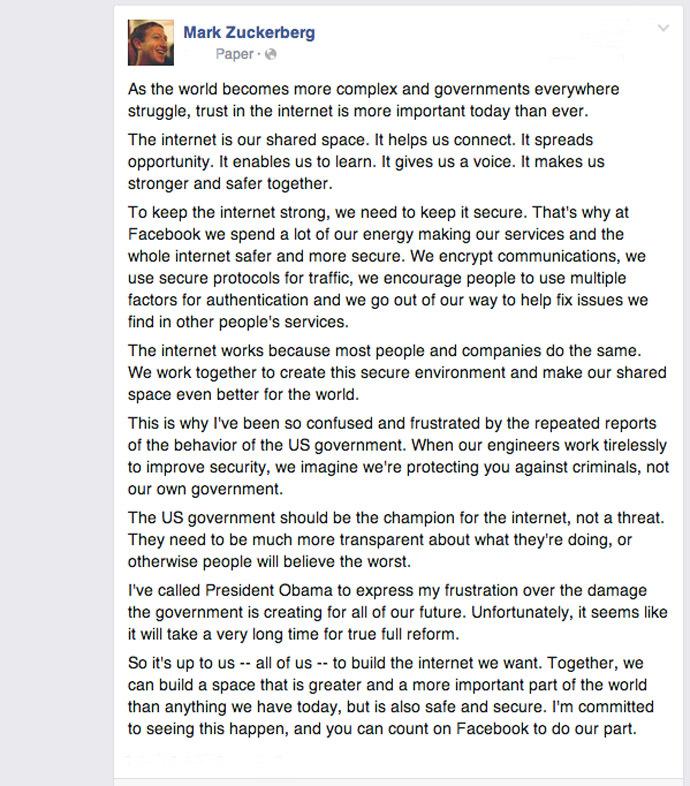 Screenshot from www.facebook.com/zuck