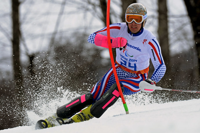 Russia's Aleksander Alyabyev (LW 6/8-2) competes in the Men's Alpine Skiing Slalom Standing at XI Paralympic Olympic games in the Rosa Khutor Alpine Centre nearSochi on March 13, 2014. (AFP Photo)